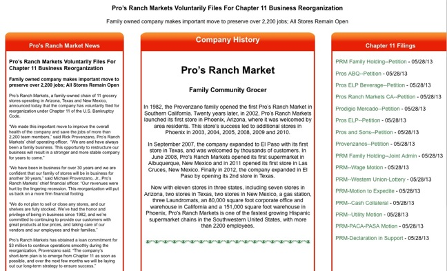 pro s ranch sets up informational website about its chapter 11 filing the shelby report