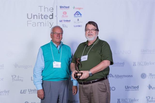 Robert Taylor, president of The United Family; Farrin Cunningham, Lubbock, Unite Award winner.