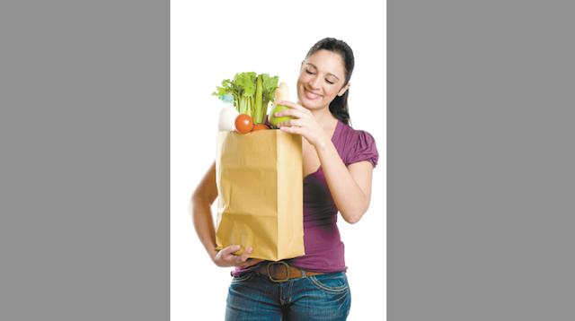 Hispanic Woman with Groceries