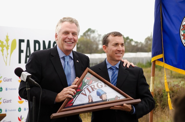 BrightFarms CEO Paul Lightfoot with Virginia Gov. Terry McAuliffe during the ribbon-cutting ceremony Oct. 13.