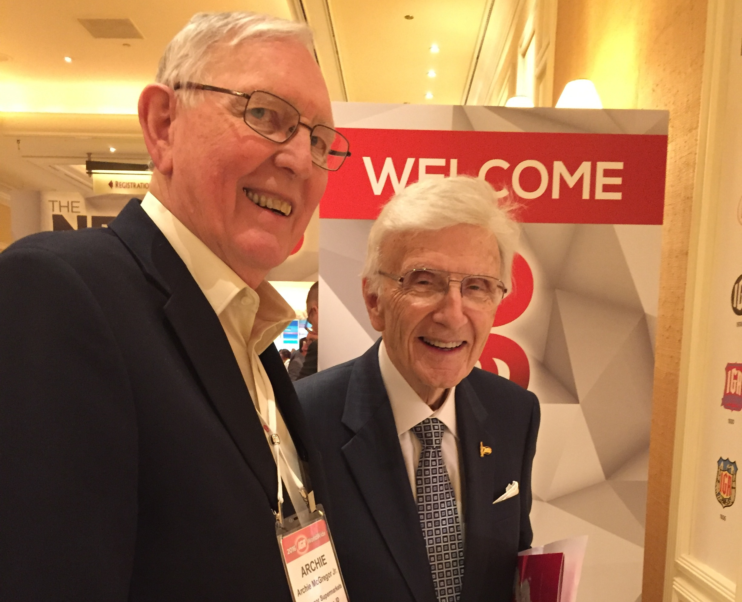Dr. Tom Haggai, IGA chairman, right, with Archie McGregor, president of Archie's IGA in St. Maries, Idaho, and Dissmore's IGA in Pullman, Washington, at the 2016 IGA Global Rally this week in Las Vegas.