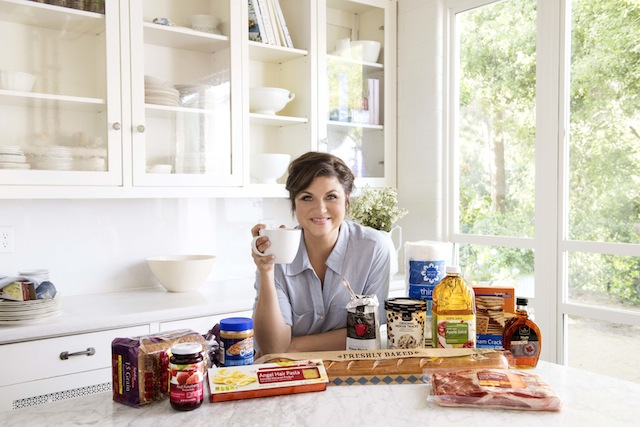 Actress and Cooking Channel host Tiffani Thiessen with some of Albertsons' Signature products.