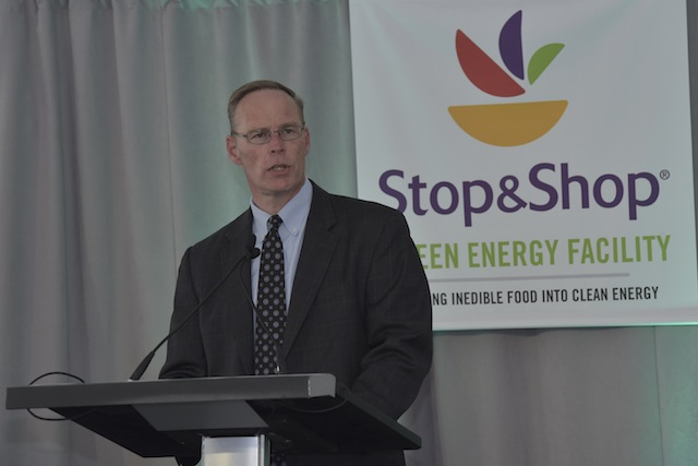 Stop & Shop New England President Mark McGowan speaks at the formal dedication ceremony of the green energy center in Freetown, Massachusetts, on April 15.