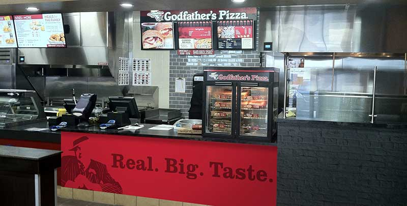 The Godfather's Pizza Express inside the Love's Travel Stop in Quanah, Texas, opened in July.