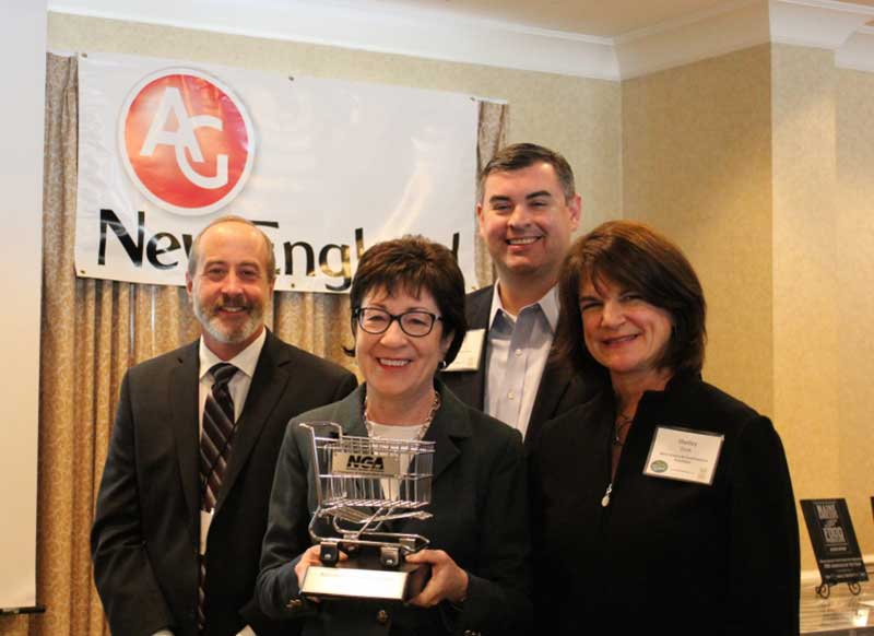 Jim Lesser of Oakhurst Dairy, Sen. Susan Collins (R-Maine), Greg Ferrara of NGA and Shelley Doak of the MaineGrocers and Food Producers Association.