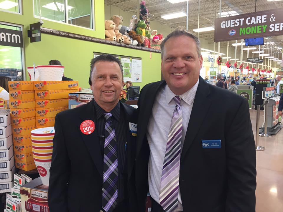 Ed Loy, right, manages the new Kroger Marketplace in Dawsonville, Georgia. He's pictured with David Hansen, operations manager.