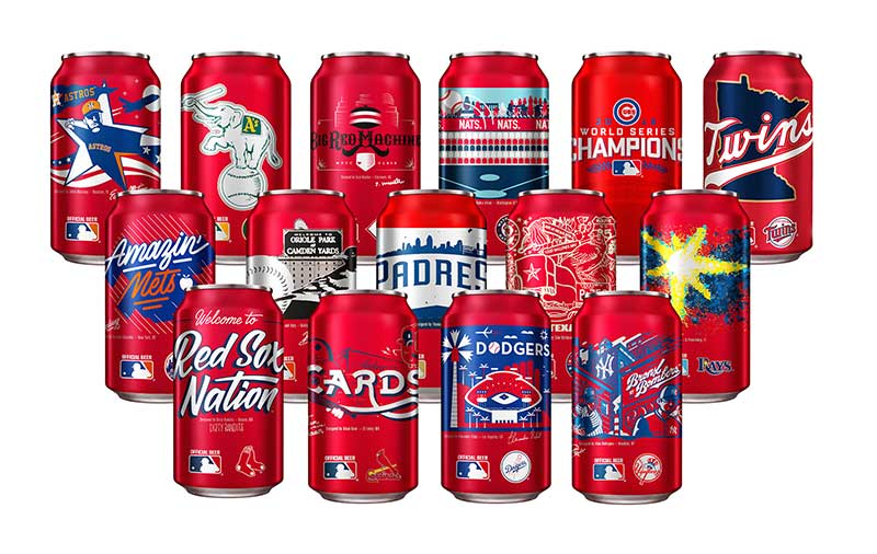 Bud MLB team cans