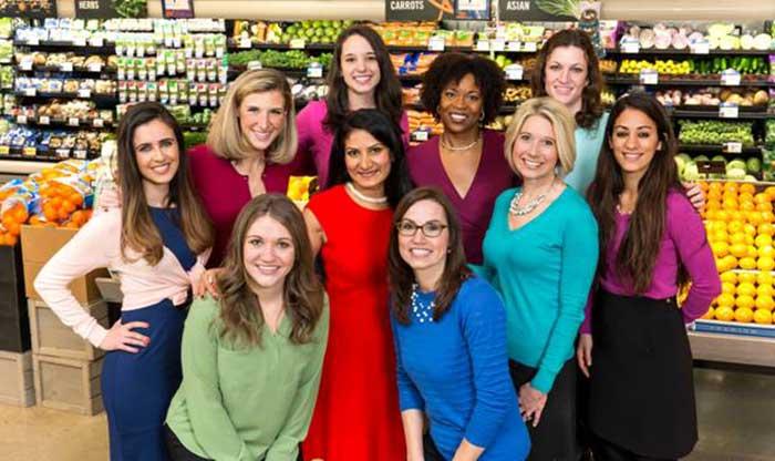 Giant's team of in-store nutritionists includes, back row from left,Nina El-Chebli, Rockville, Maryland;Emily Craft, Severna Park, Maryland; Natalie Kannan, Fairfax, Virginia; Leslie Jefferson, Lanham, Maryland; and Melanie Berdyck, Ellicott City, Maryland; and front row, Marissa Donovan, McLean, Virginia; Min Krushmarthy, Alexandria, Virginia;Mandy Katz, Timonium, Maryland; Lisa Coleman, lead nutritionist; and Roxana Ehsani, Washington, D.C.