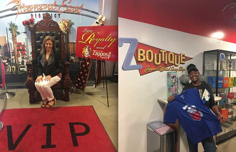 "At left—Karen Caplan in the lobby of Zappos: ""They have a throne…it truly made me feel like royalty!"" Right—Lindy, who was running the swag shop when Karen visited."