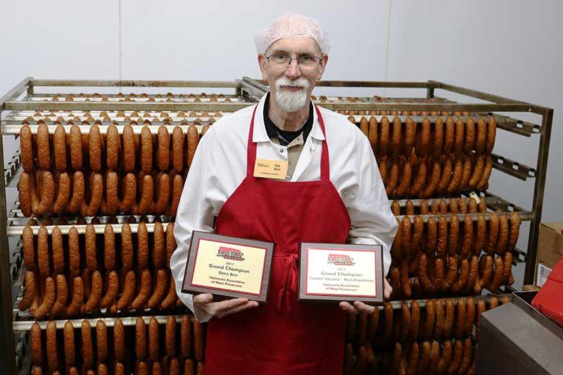 """Smokin'"" Bob Voss, Smokehouse manager at the Super Saver at 27th and Pine Lake Road in Lincoln, Nebraska."