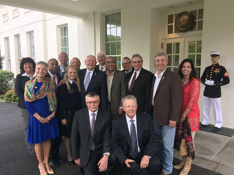Maureen Torrey, far left, and others who were part of the White House roundtable discussion about agriculture are pictured with U.S. Secretary of Agriculture Sonny Perdue.