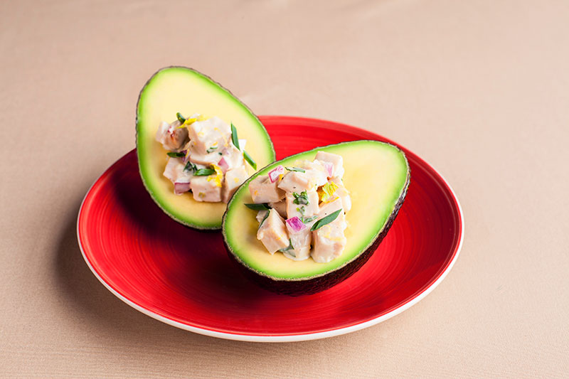 BBQ Chicken Salad Stuffed California Avocado