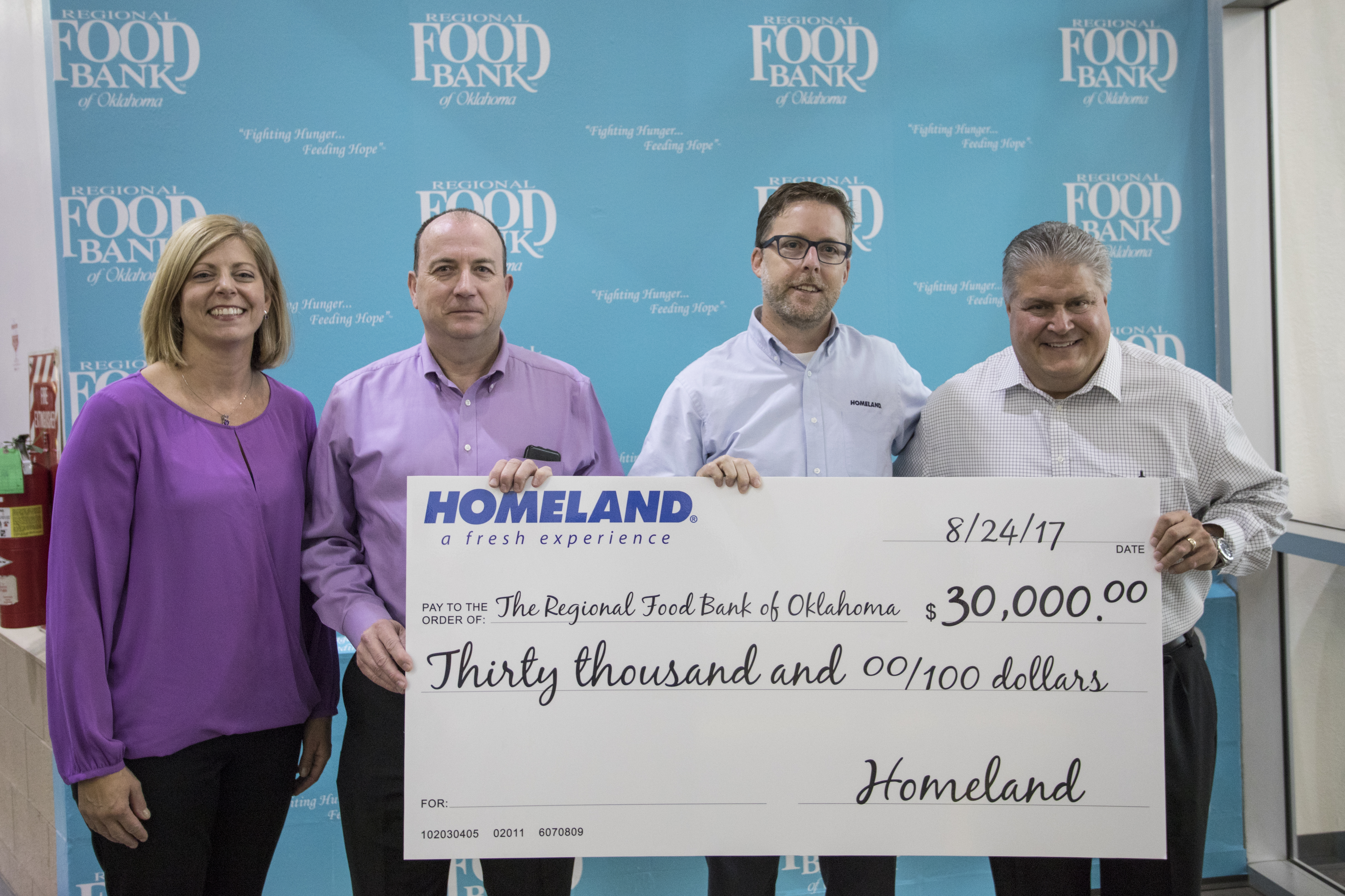 Homeland donation check presentation