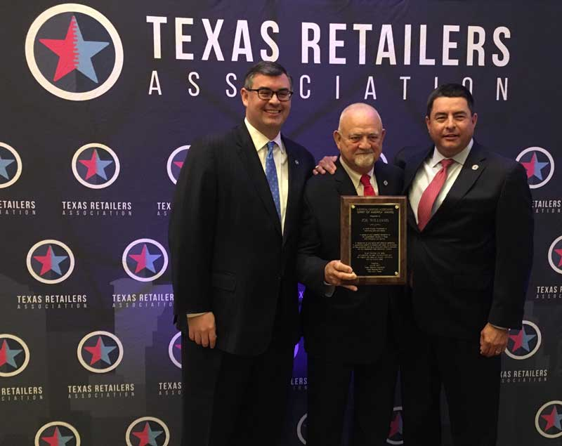 Greg Ferrara, NGA; Joe Williams, NGA Spirit of America award winner; George Kelemen, Texas Retailers Association.