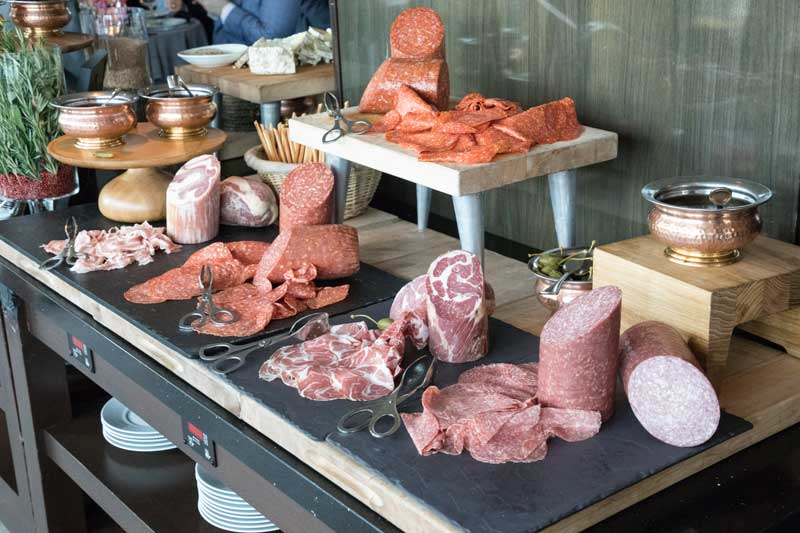 Niman Ranch's Rainbow Room charcuterie and prosciutto chubs