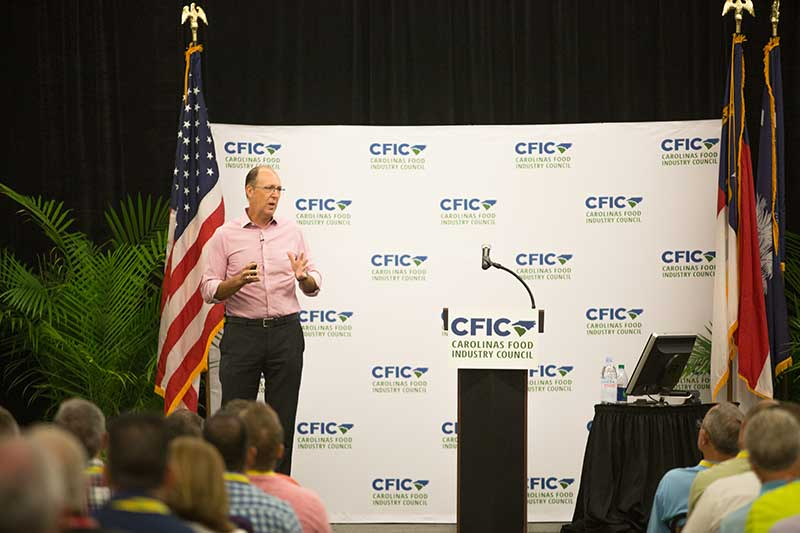 Tim Lowe of Lowes Foods presents during the CFIC Convention.