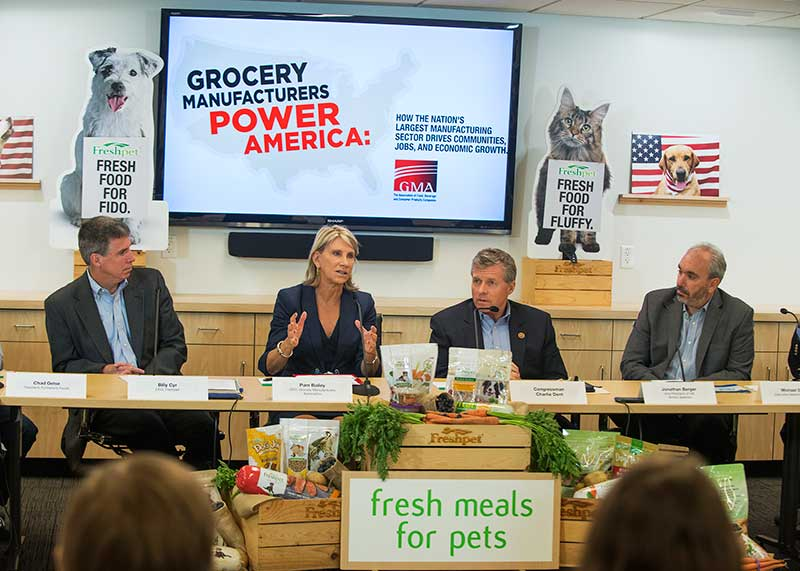 GMA CEO Pam Bailey with Freshpet CEO Billy Cyr (left) and Rep. Charlie Dent.