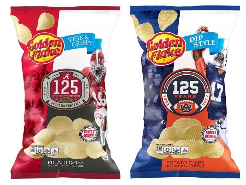 Golden Flake football themed potato chips