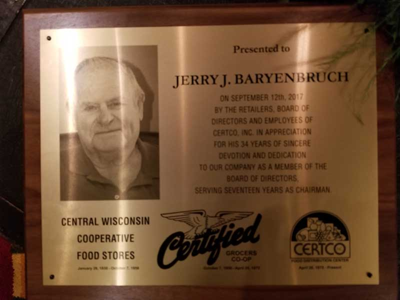 The plaque Certco presented to Jerry Baryenbruch