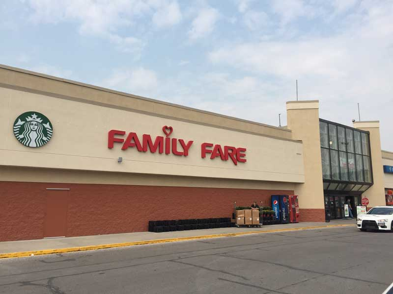 An exterior shot of one of the new Family Fare supermarkets.