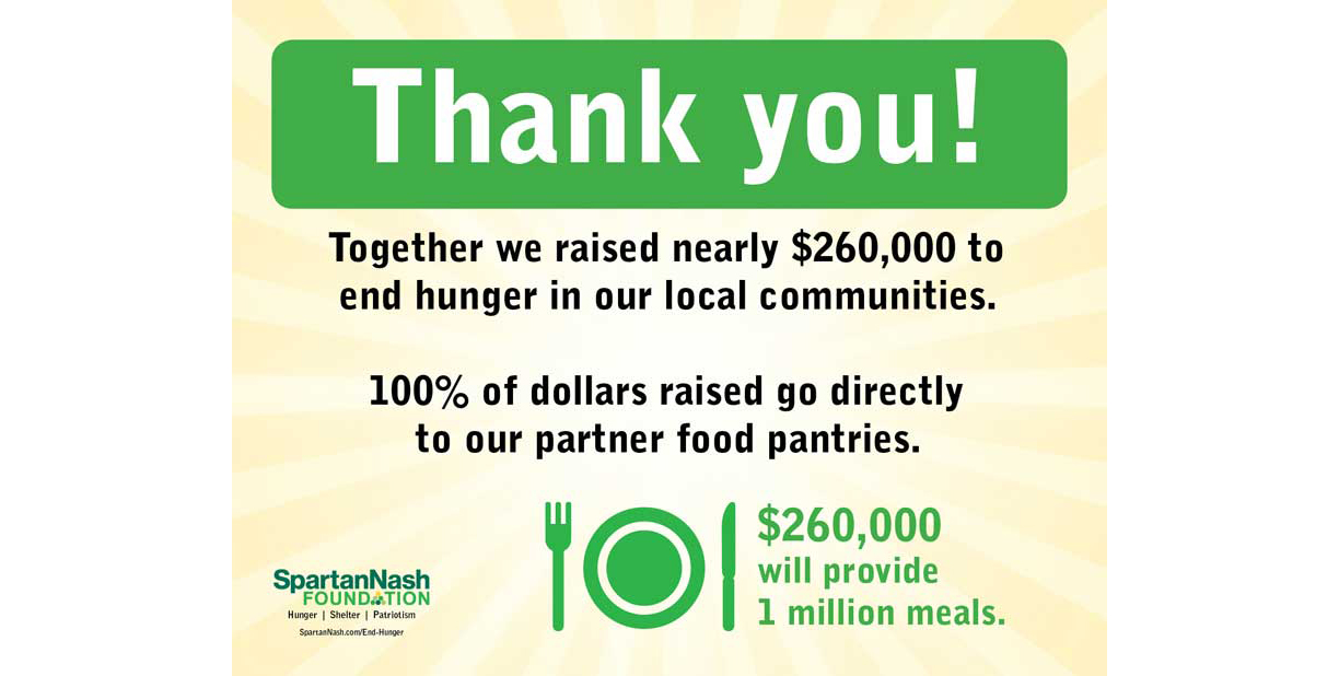 Hunger relief scan campaign thank you message