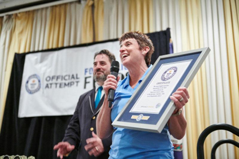 Food Lion President Meg Ham holds the official Guinness award