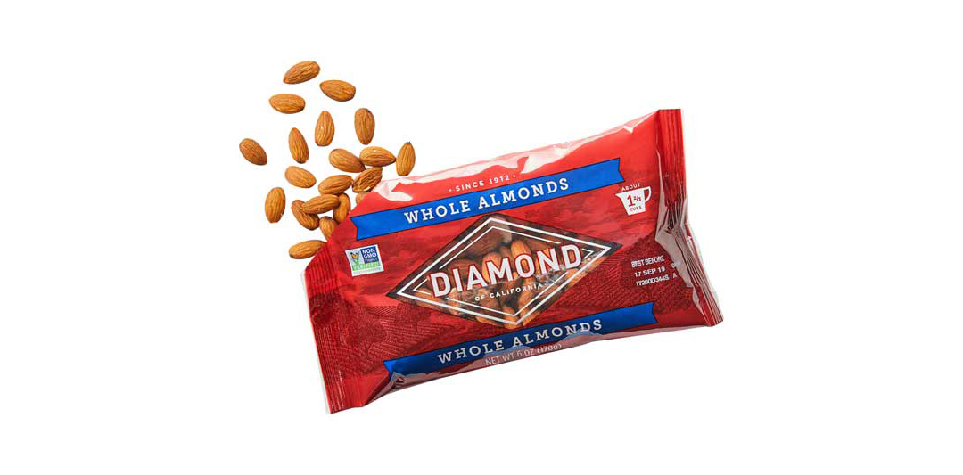 Diamond of California nuts in the new packaging