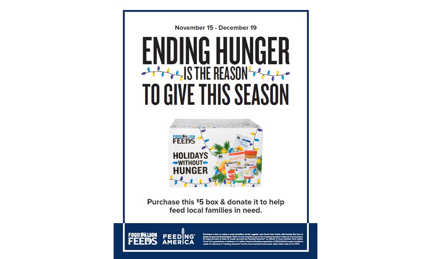 Food Lion Feeds holiday hunger campaign flyer