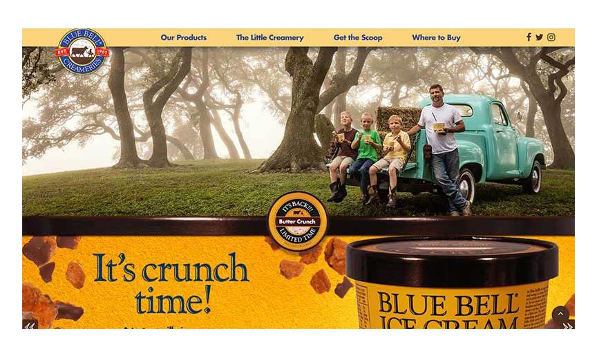 A screenshot of the new Blue Bell website