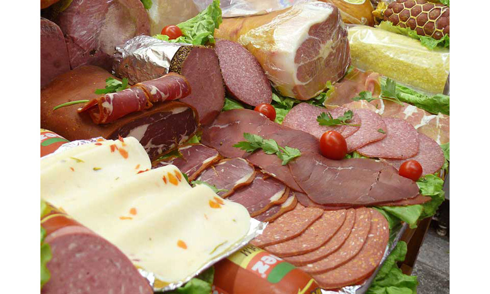 Platter of sliced meats