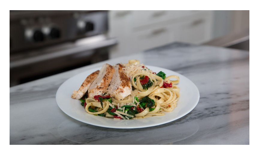 Basil garlic chicken fettuccine with spinach.