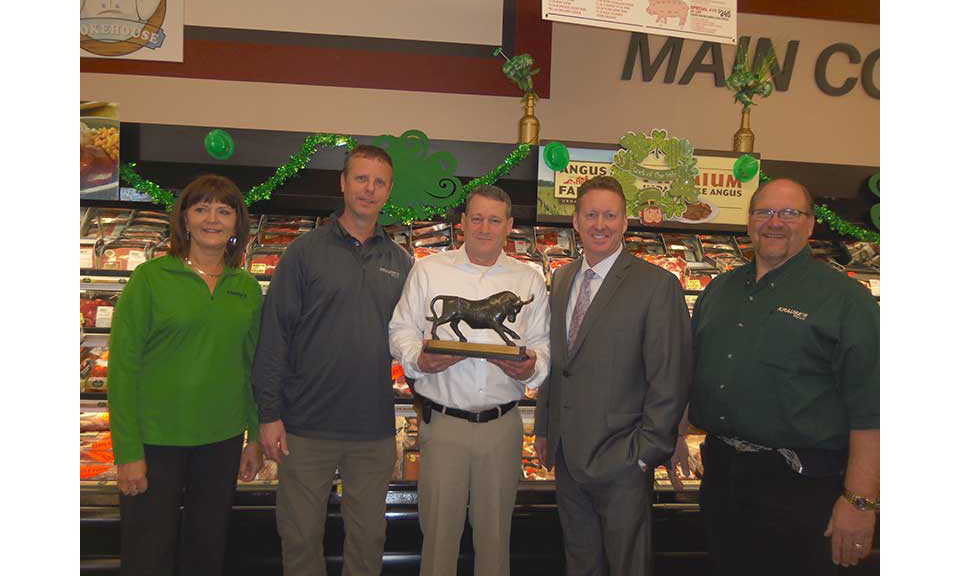 Kari Olson and Dalles Krause, Krause's co-owners; Roy McKenzie, meat manager, Krause's Garrison; Tony Ott, Supervalu director—meat; and Shannon Staehr, store manager, Krause's Garrison.