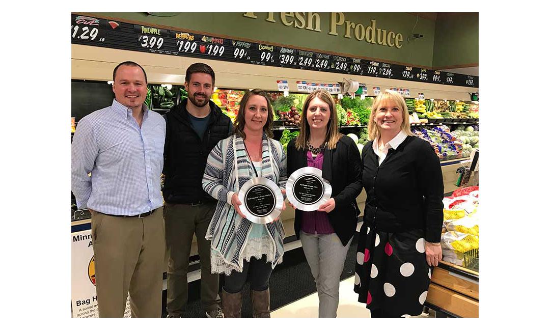 Nate Tuma and Ted Wirtz, Mueller-Yurgae Associates; Amy Ernsting, Radermacher's Fresh Market; Amy Schisler, Faribault Foods; and Jamie Pfuhl, MGA.