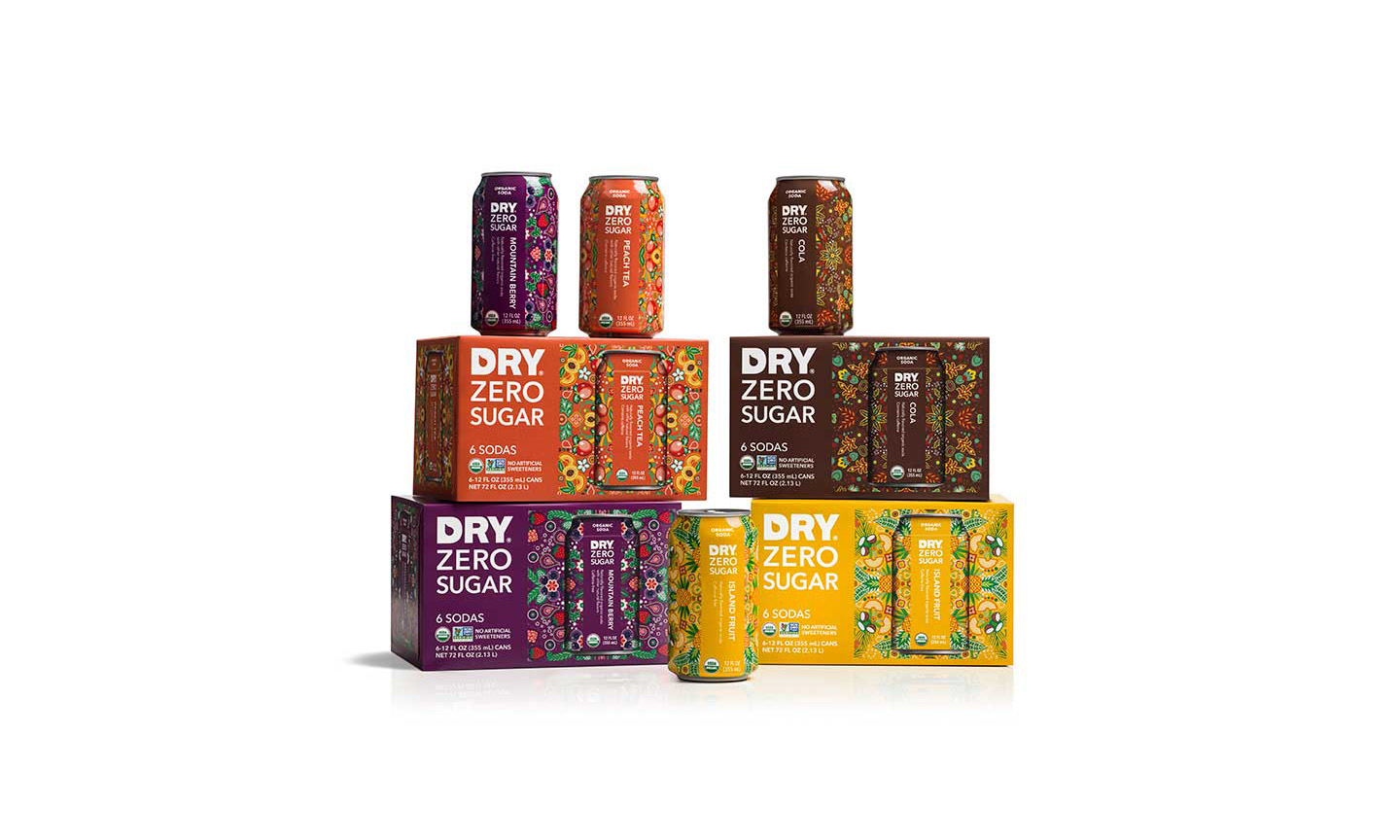 Dry Zero Sugar drinks and packaging
