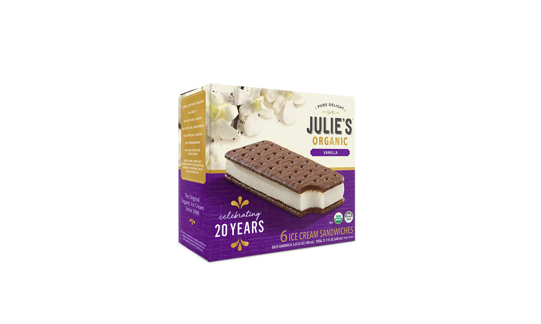 The new packaging for Julie's 20th anniversary ice cream sandwiches.