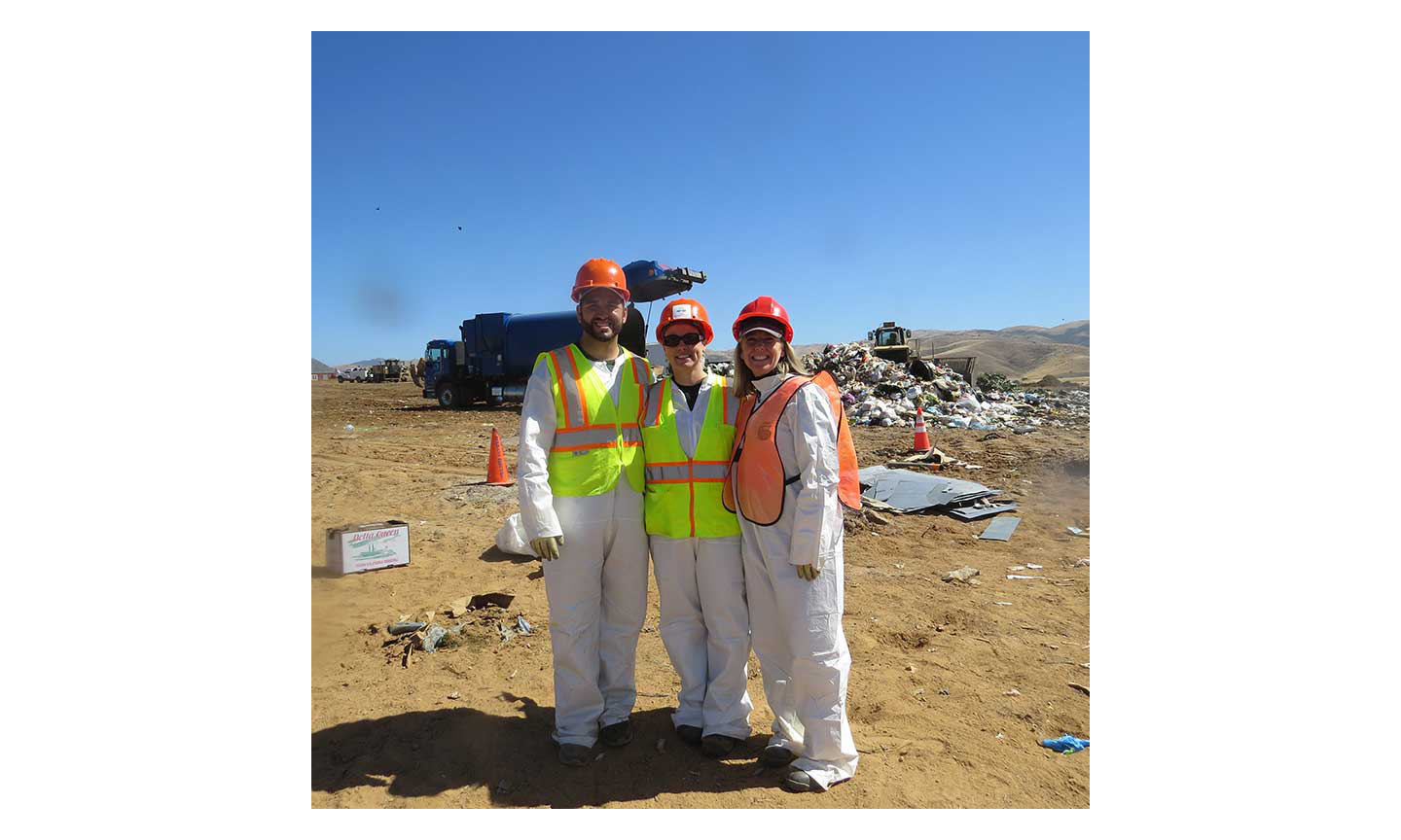 Wyatt Maysey, senior account manager at MTI; Mandy Brooks, resource recovery manager at Salinas Valley Recycles, and Nikki Rodoni, founder and CEO of MTI, during a recent waste audit.