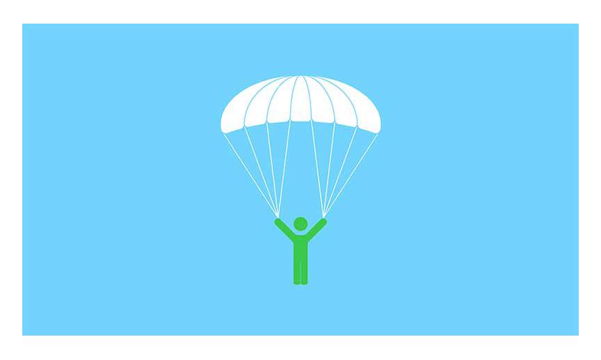 A man with an open parachute