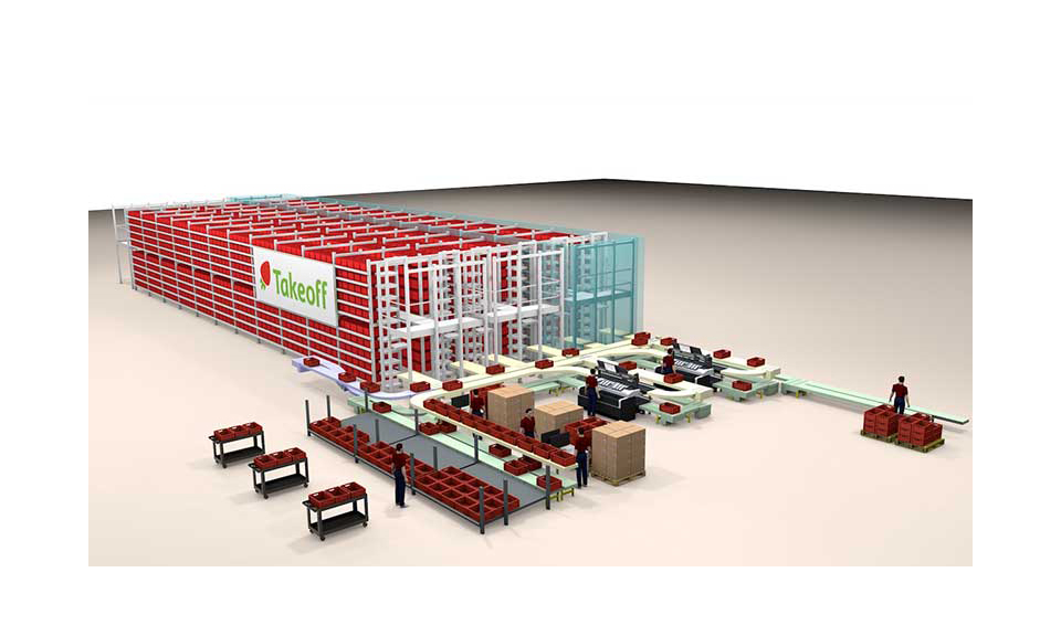 A rendering of a Takeoff Technologies fulfillment center.