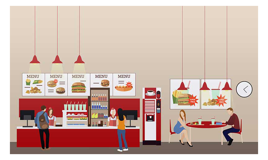 A foodservice counter.