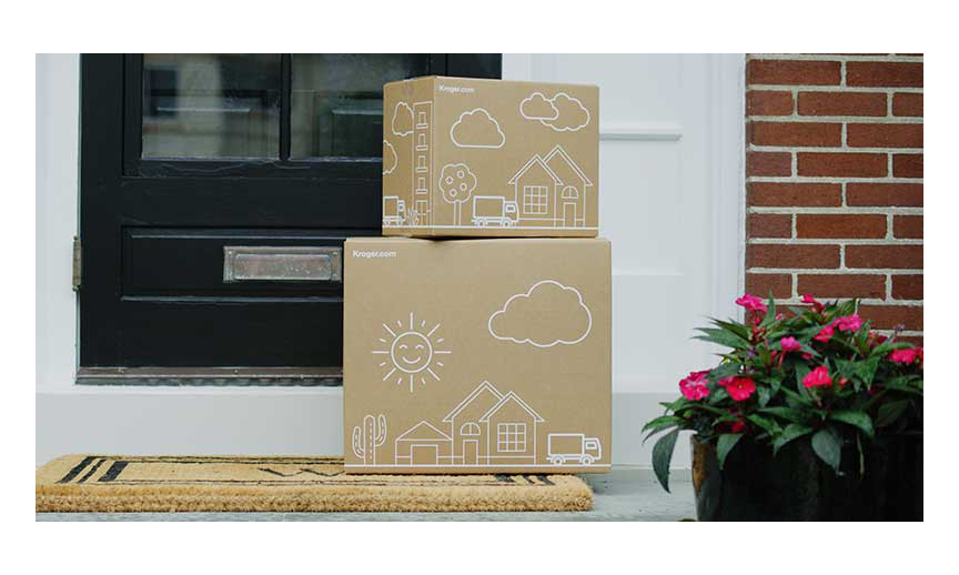 Kroger Ship delivery boxes on a porch