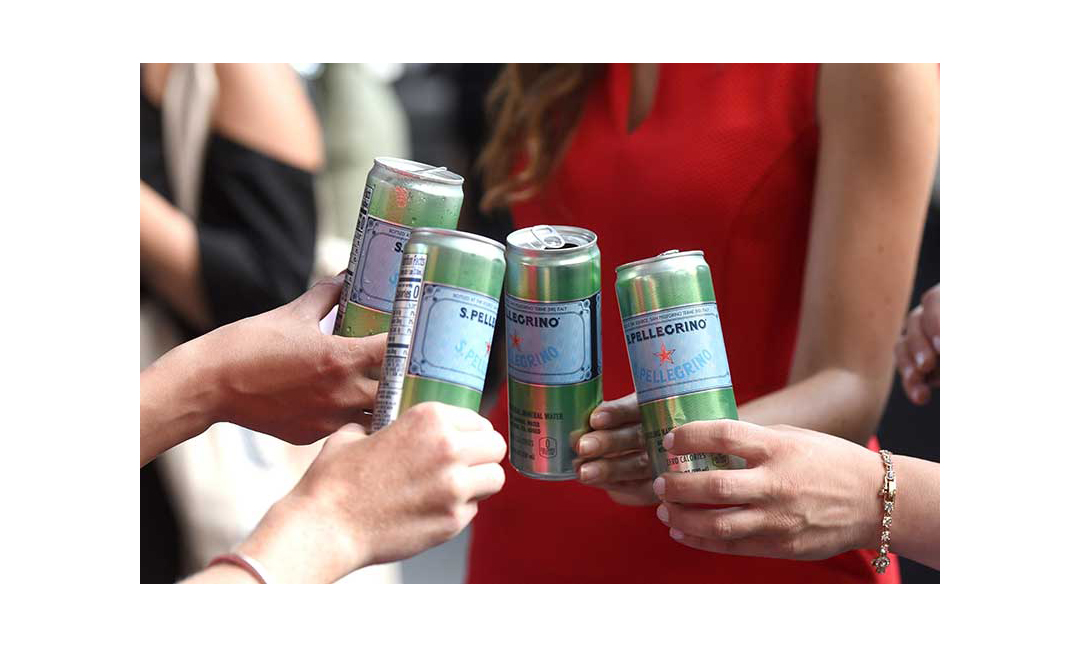 S.Pellegrino sparkling water cans.