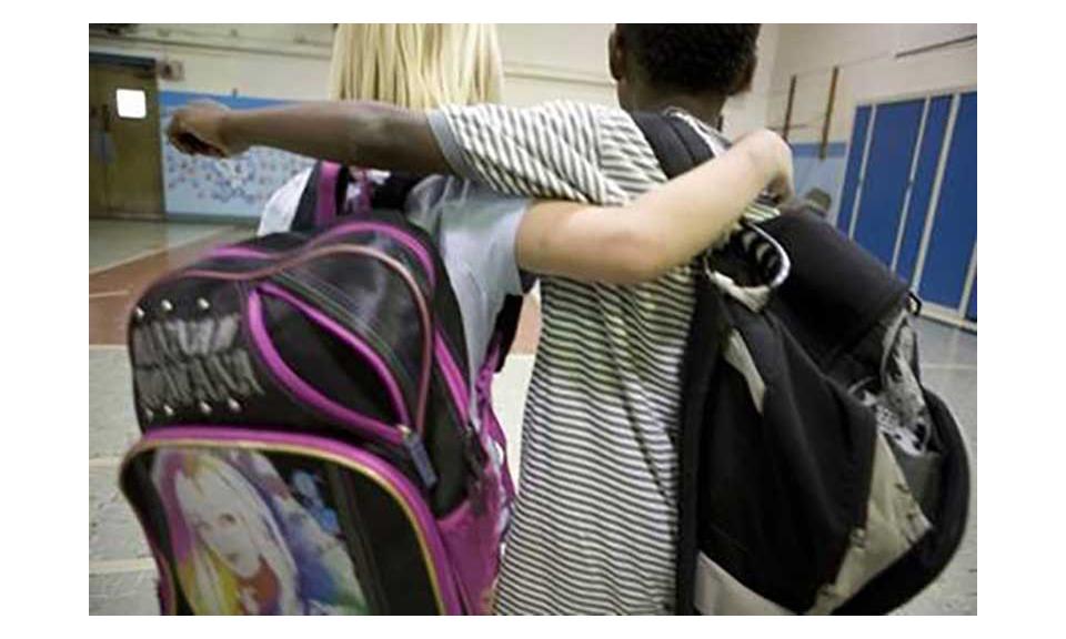 Two children wearing backbacks