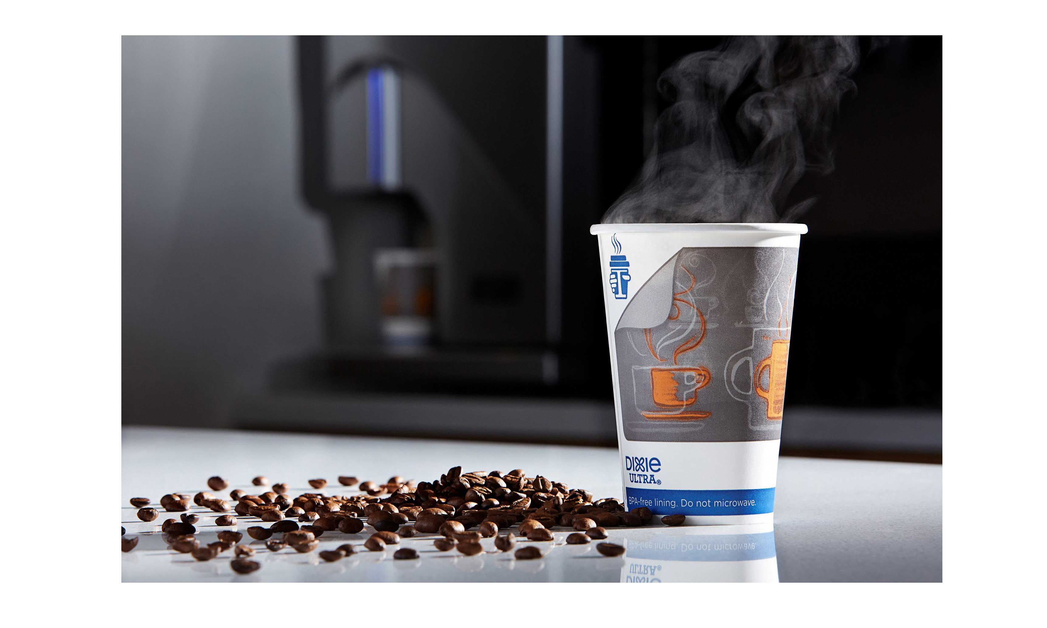 Dixie Ultra Insulair Hot Cup on a counter
