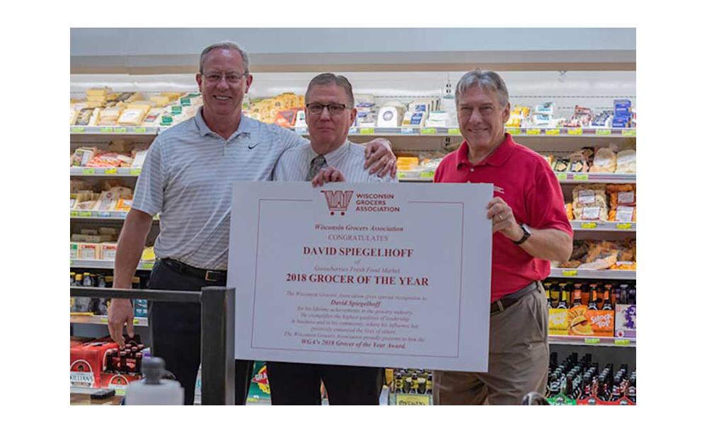 Geoff Welch, The Shelby Report; David Spiegelhoff, Gooseberries Fresh Food Market; Brandon Scholz, Wisconsin Grocers Association.