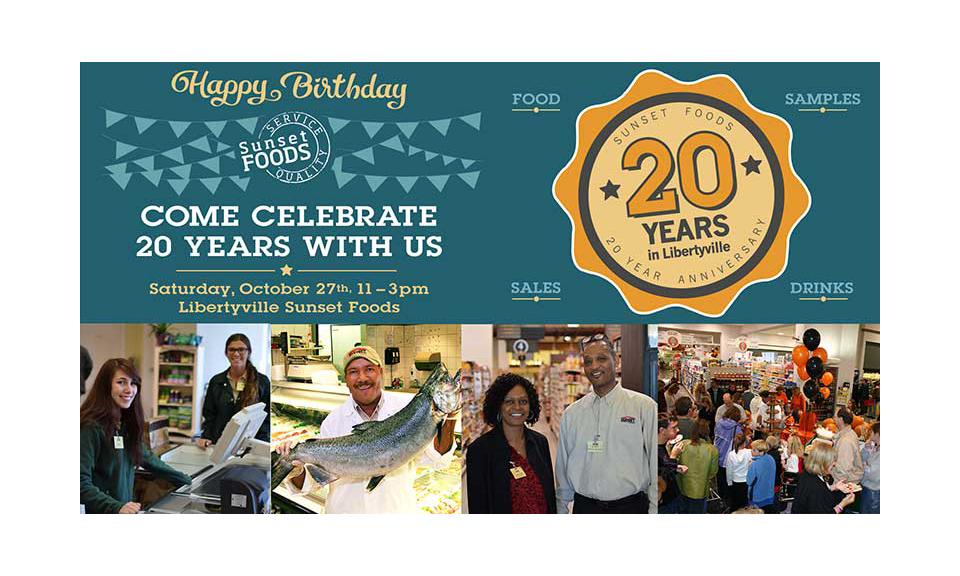 An graphic inviting locals to Sunset Foods' anniversary celebration
