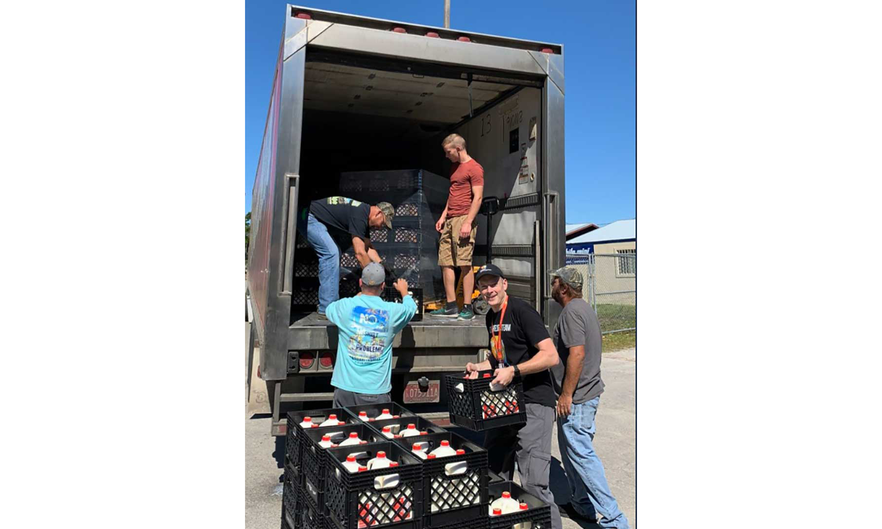 Borden drinks being unloaded off a truck.