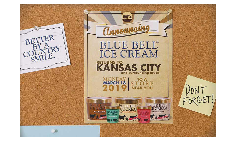 A graphic of an announcement board with the details of Blue Bell's expansion.
