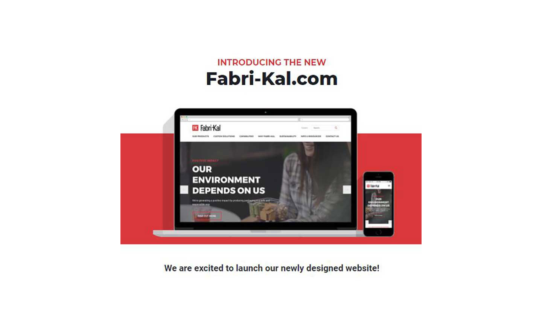 A banner announcing Fabri-Kal's new website