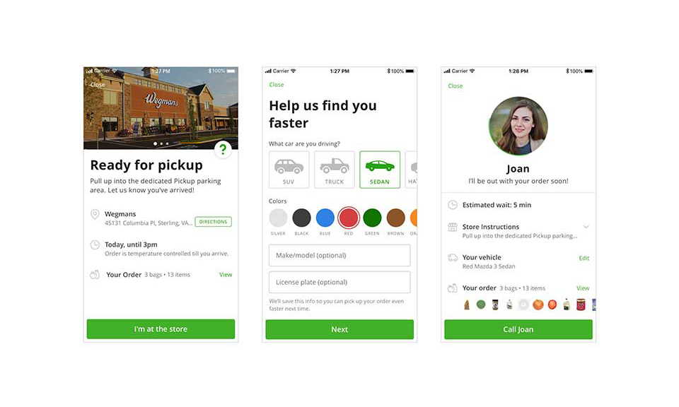 Screenshots of Instacart's new pickup feature on mobile