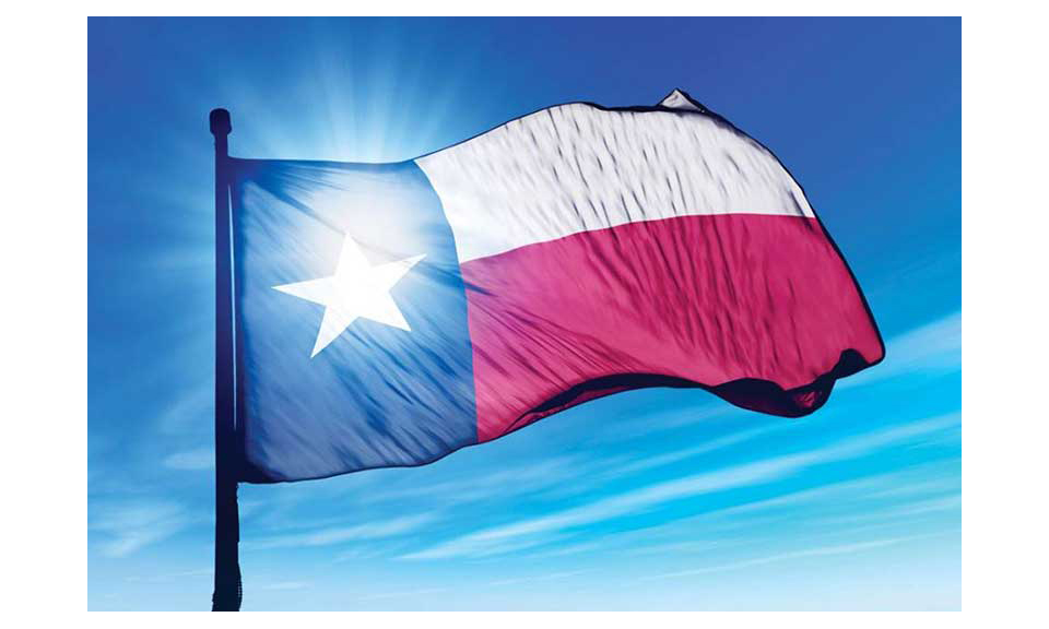 A closeup of the Texas flag